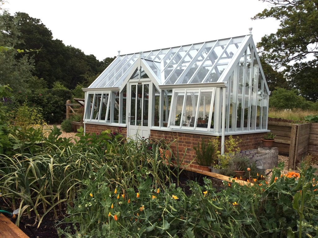 National Garden Scheme Sage greenhouse at Stonehealed Farm in Sussex