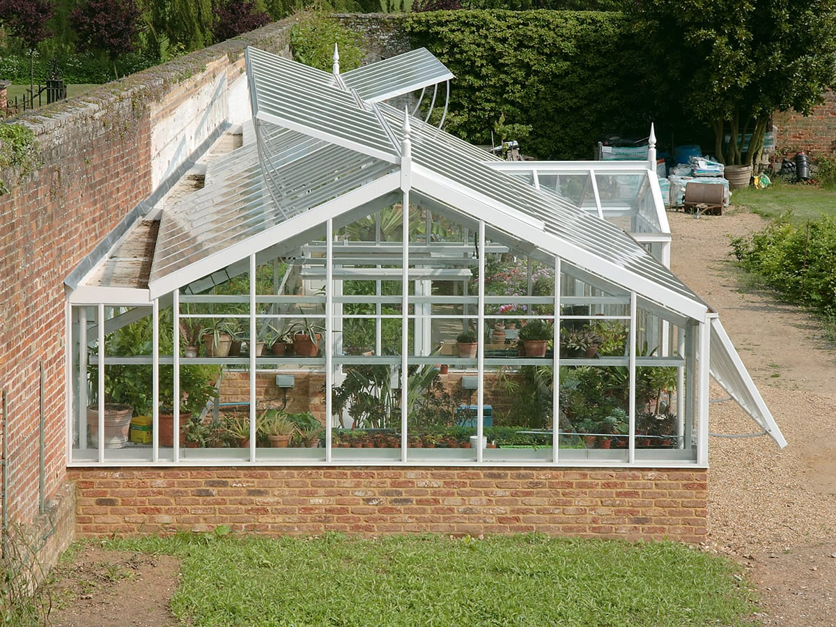 Large tapered and tiered aluminium greenhouse