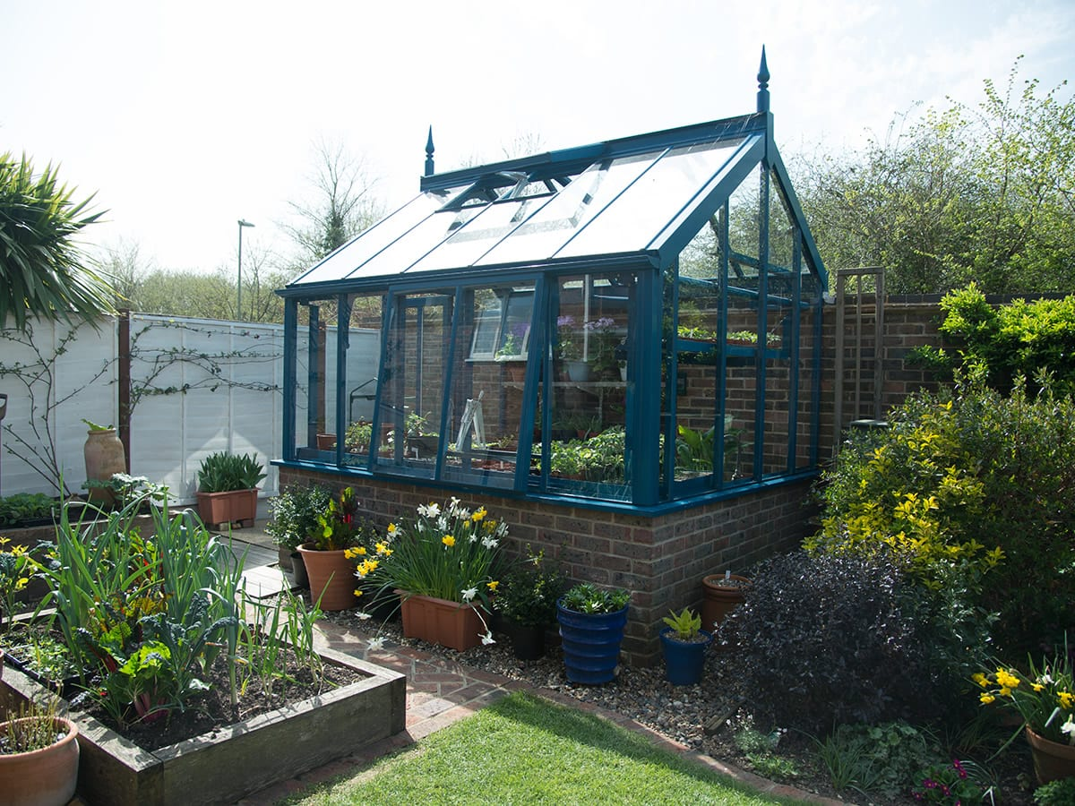 3/4 span greenhouse in blue