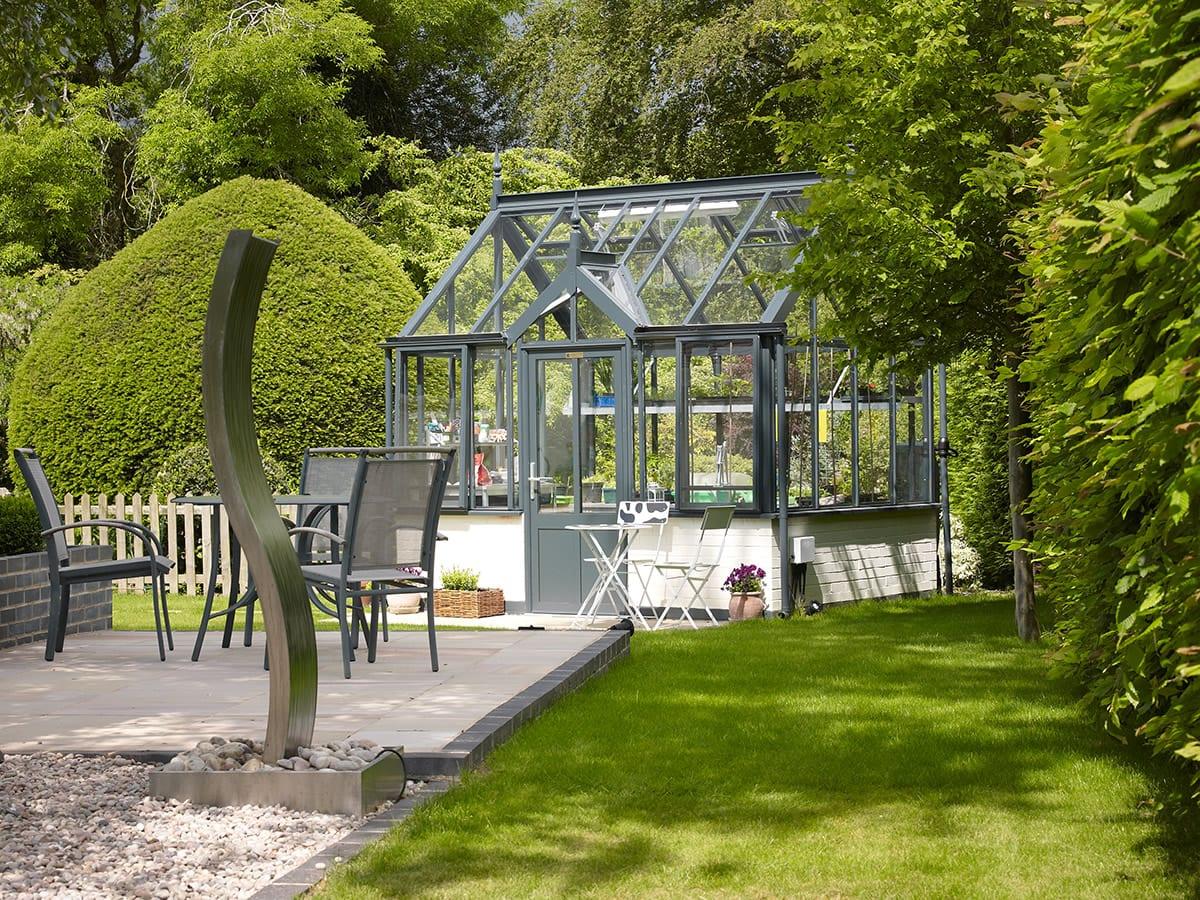 Contemporary bespoke dark grey greenhouse