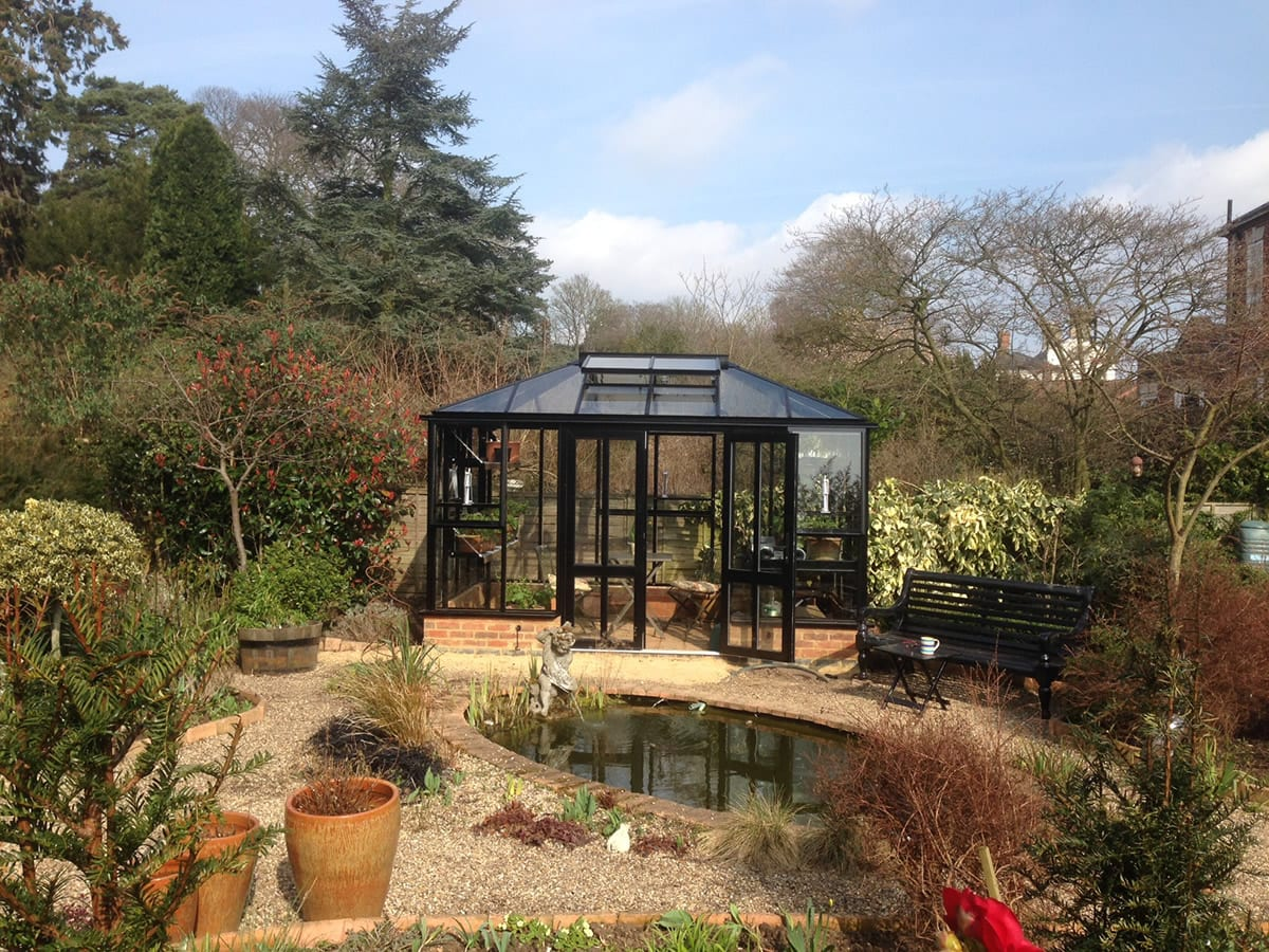 Modern black greenhouse