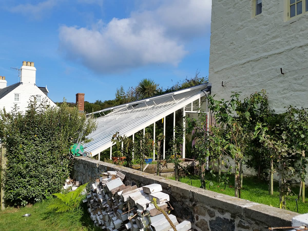 Bespoke lean to greenhouse in Guernsey