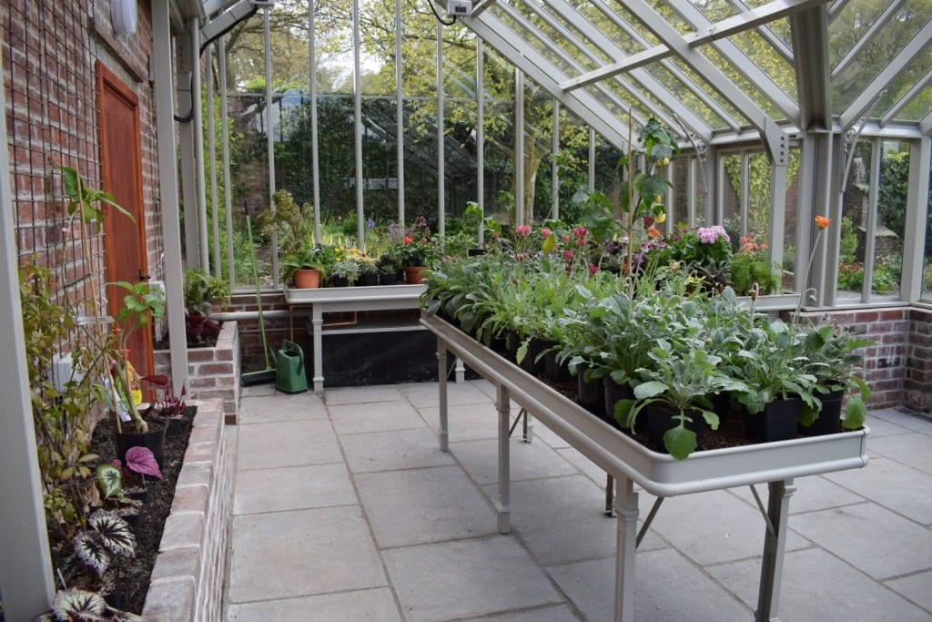 Victorian greenhouse bench at Holehird Gardens Cumbria