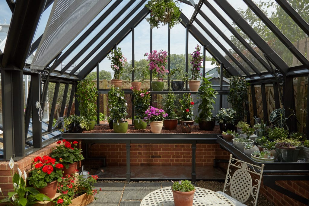 Victorian greenhouse benching and folding shelves
